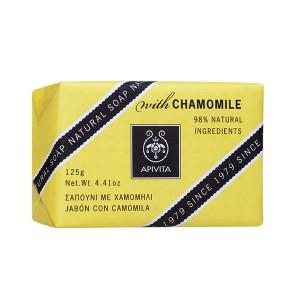 Apivita Natural Soap Σαπούνι για πρόσωπο και σώμα με χαμομήλι 125gr