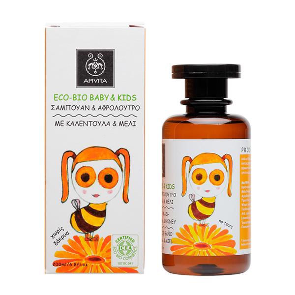 Apivita Eco-Bio baby & kids Σαμπουάν & αφρόλουτρο με καλέντουλα & μέλι