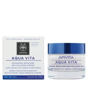 Apivita Aqua Vita Κρέμα εντατικής ενυδάτωσης & αναζωογόνησης για πολύ ξηρές επιδερμίδες με φυτοενδορφίνες λυγαριάς 50ml