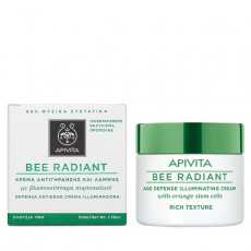 Apivita Bee radiant rich texture 50ml. Κρέμα αντιγήρανσης και λάμψης, πλούσια υφή με βλαστοκύτταρα πορτοκαλιού.