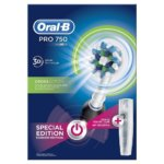Oral B Pro 750 3D White Black Color & Bonus Travel Case